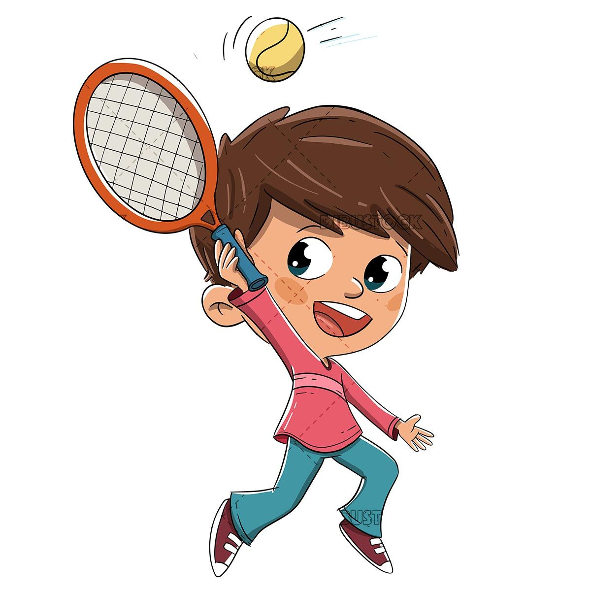 Boy Playing Tennis With A Racket Vector In 2020 Boys Playing Tennis Play Tennis
