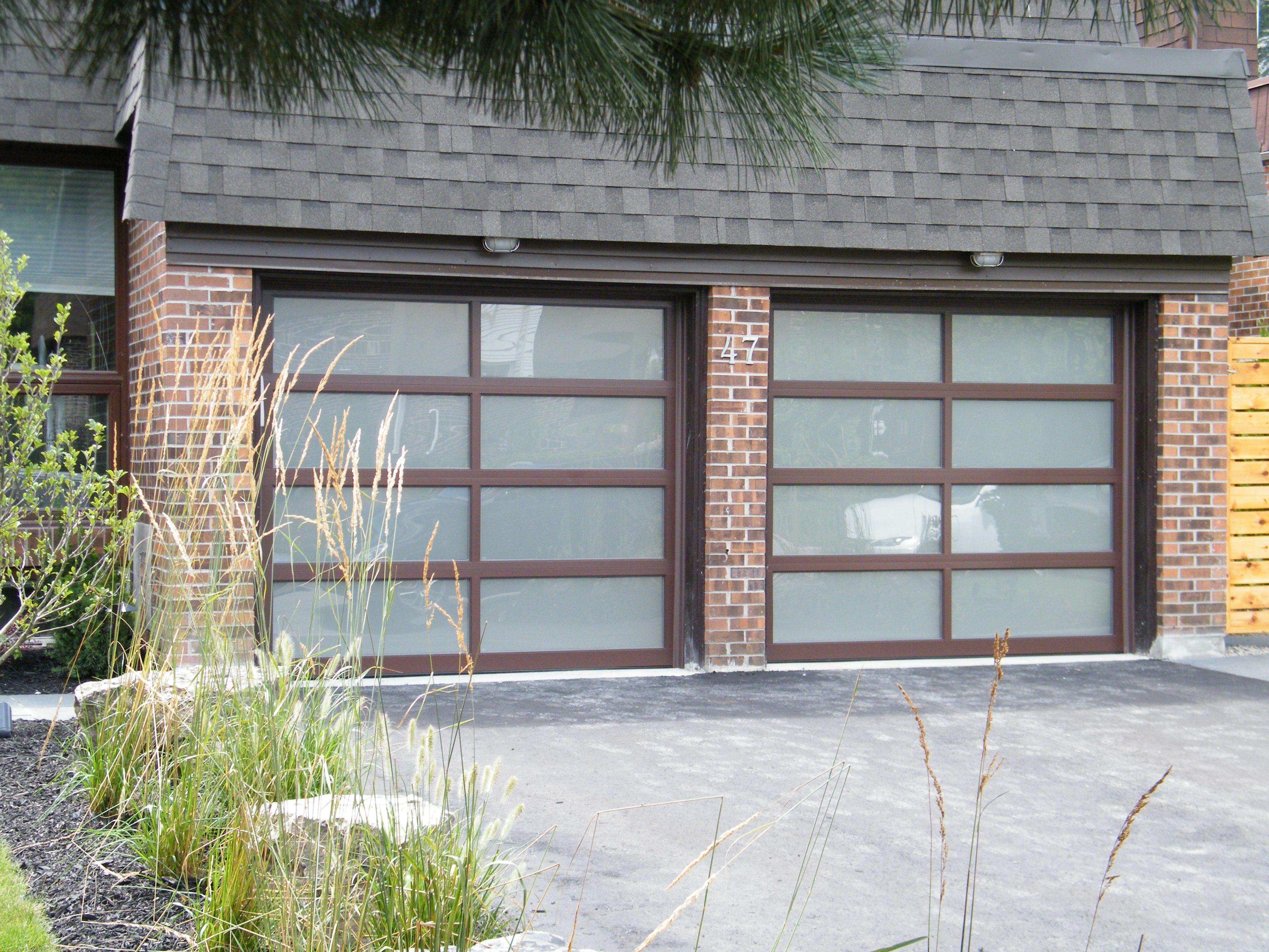 Modern garage door glass - 8x7 Haas Brown Frosted Glass Doors