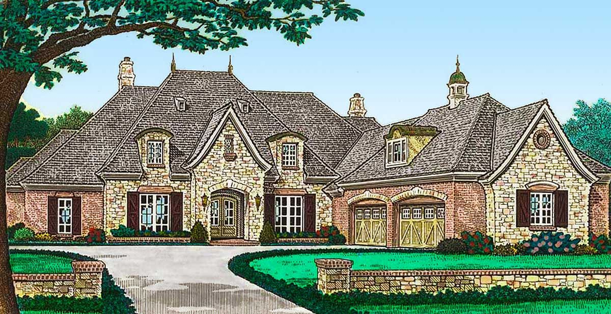 Plan 48536fm Luxury French Country House Plan With Four Car Garage In 2021 French Country House Plans French Country House Luxury House Plans