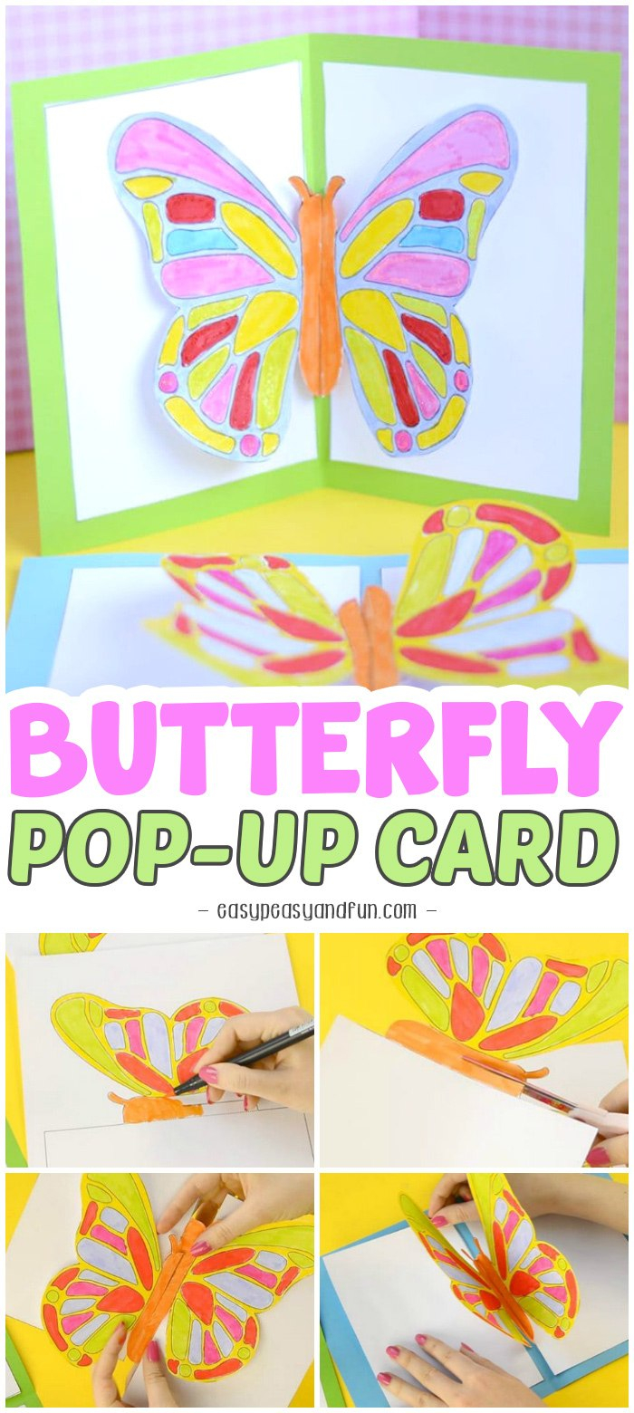 Diy Butterfly Pop Up Card With A Template Easy Peasy And Fun Inside Diy Pop Up Cards Templates 10 In 2020 Pop Up Card Templates Diy Pop Up Cards Birthday Cards Diy