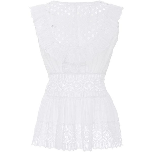 Tory Burch     Eyelet Sleeveless Hermosa Top (1,105 SAR) ❤ liked on Polyvore featuring tops, white, sleeveless tank tops, sleeveless tank, eyelet tops, eyelet tank top and lace detail top
