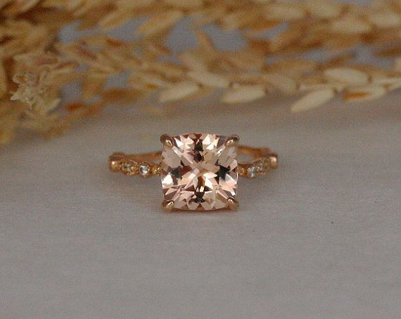 Morganite Engagement Ring and Diamond Wedding Band Set by IceCage