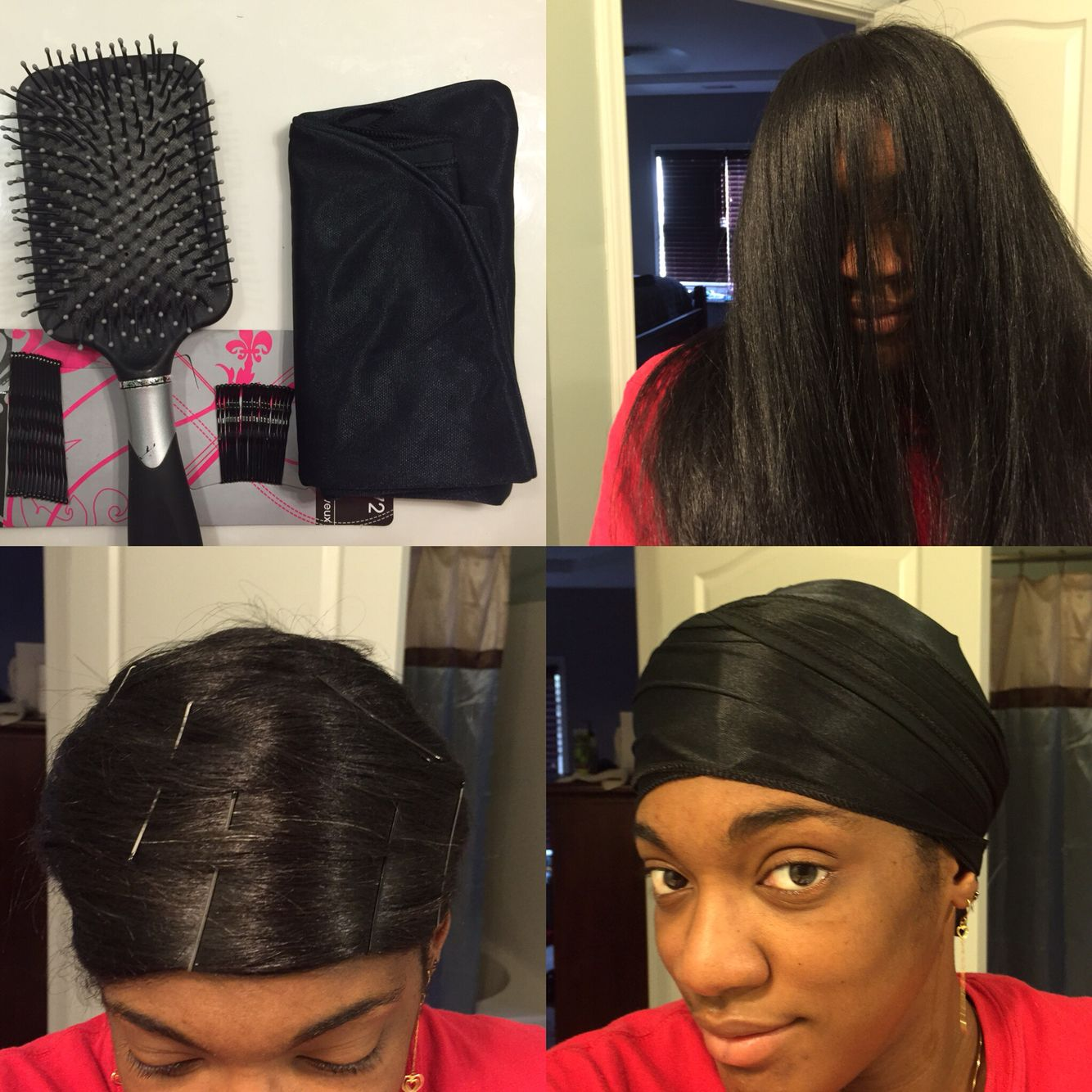 tutorial How to keep your hair press/flat iron straight for bed time & working out 1. Grab a paddle brush, bobby p… | Hair styles, Blowdry styles, Scarf hairstyles