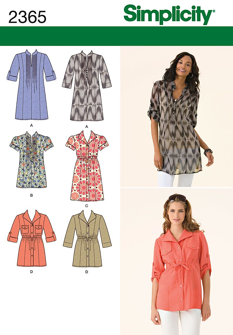Womens tunic sewing pattern 2365 simplicity versatile pintuck womens tunic sewing pattern 2365 simplicity versatile pintuck button up waisted jeuxipadfo Image collections