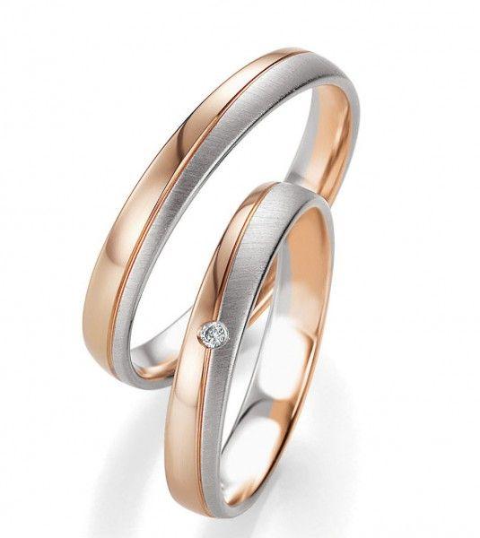 Trauringe Heidi mit einem Brillanten und 0,02 ct bei dem Damenring. verlobungsring.de #liebe #brillant #rosegold