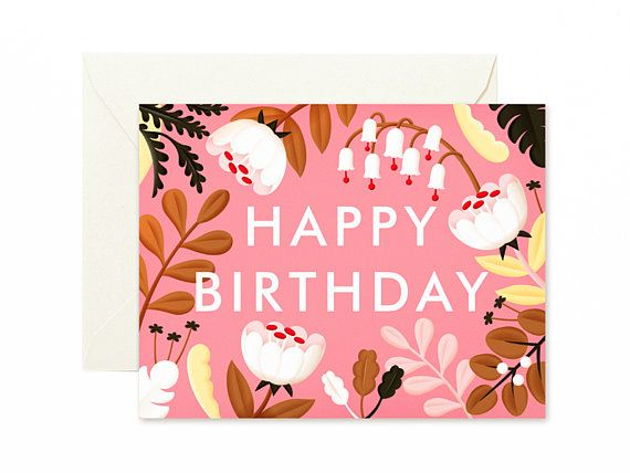 Forest Wildflowers Birthday Card Fuscia Clapclapdesign Pinterest