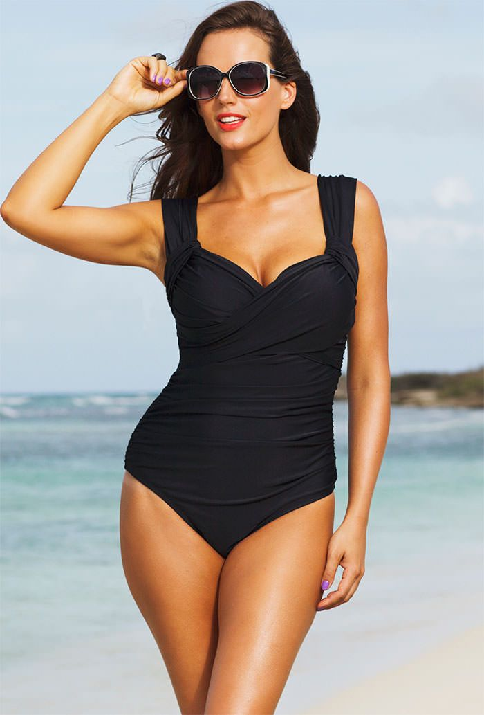 4e8f41ec11a24 Shore Club Black (Plus Size) Crossover Swimsuit - swimsuitsforall.com  Finally! Beautiful swimsuits and bikinis for women that are lotsa shapely!