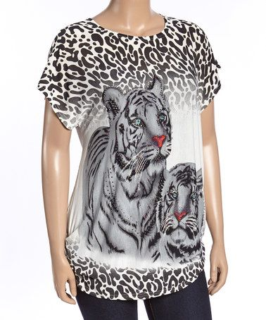 Another great find on #zulily! Black & Gray Rhinestone Tiger Tee - Plus #zulilyfinds