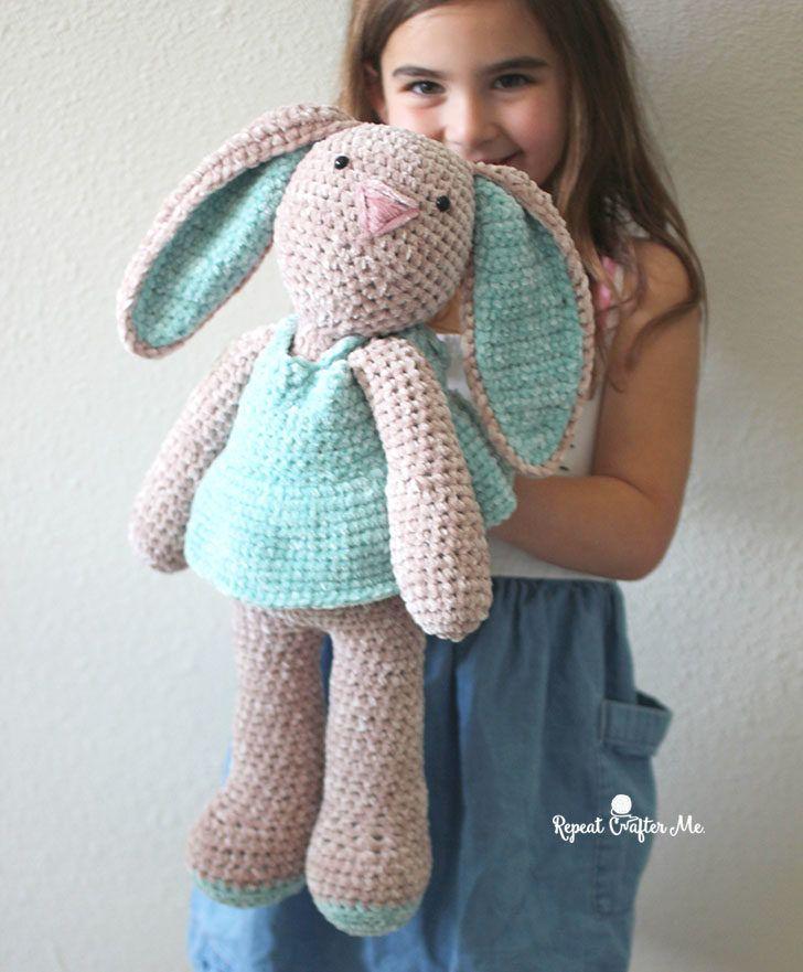 Bernat Baby Velvet Crochet Bunny - Repeat Crafter Me