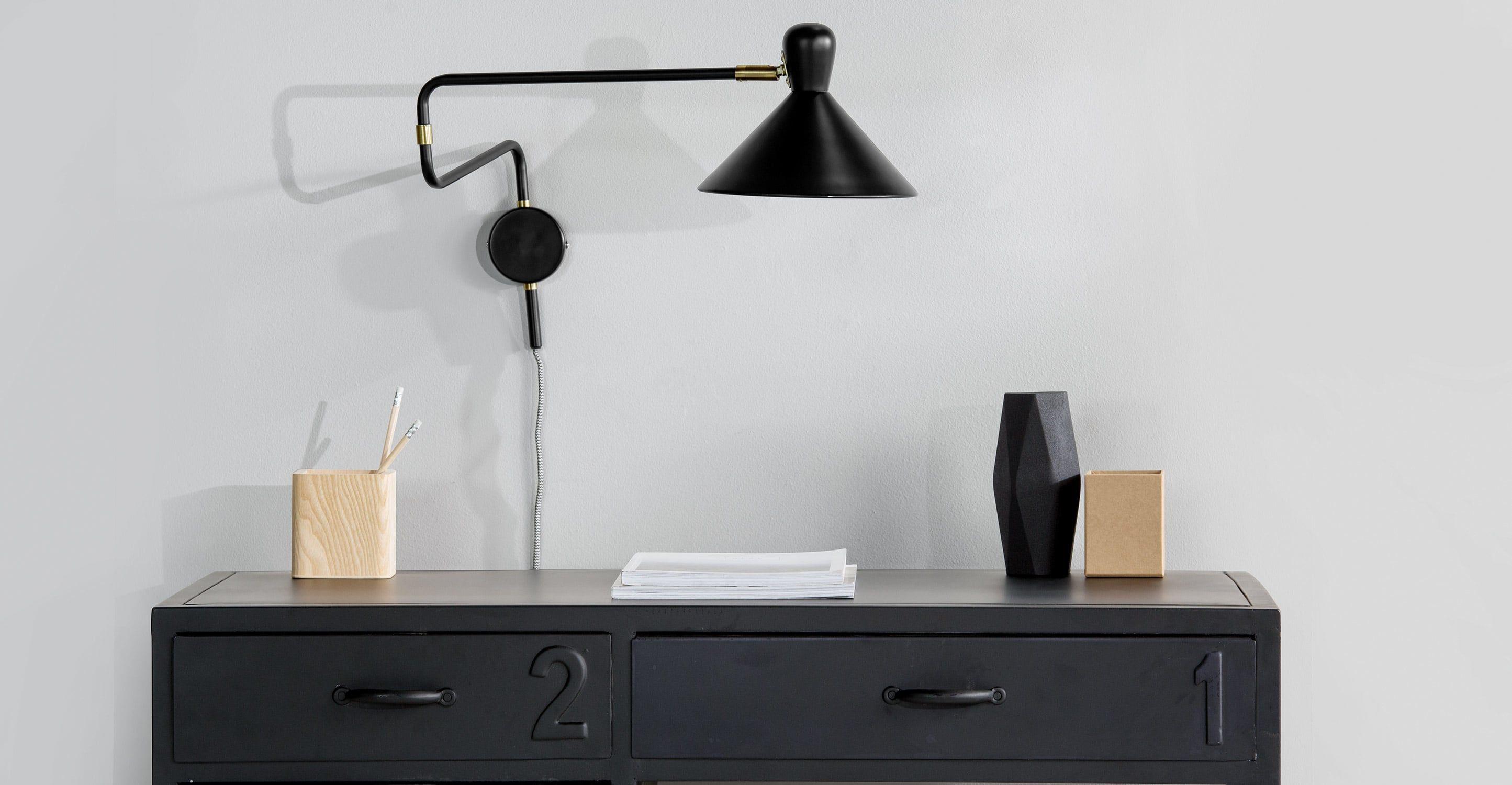 Ogilvy Applique Bras Amovible Noir Mat Et Laiton Vintage  # Meuble Tv Noir Mat Design