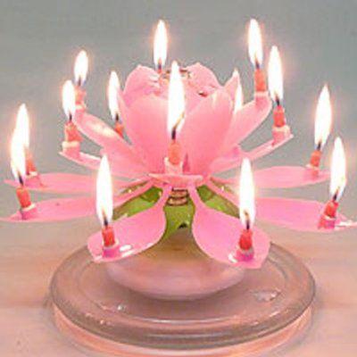 Happy Birthday Lotus Candle