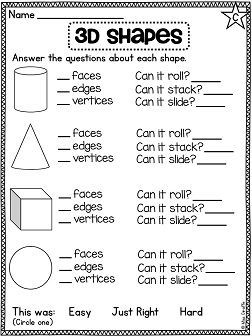 3d Shapes Worksheets All Differentiated And Fun Love These First Grade Math Math School Math Geometry