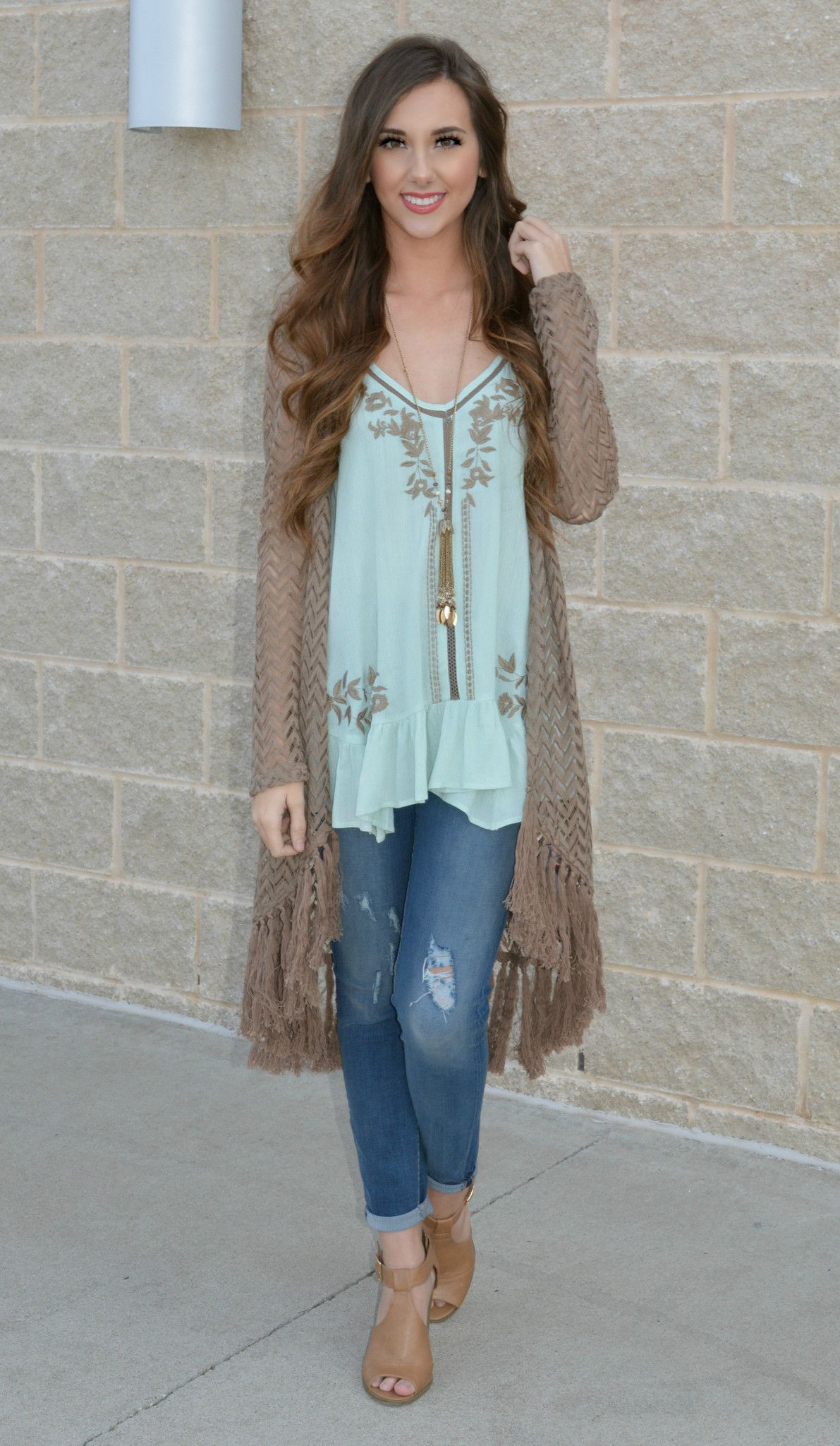 this lightweight mocha crochet cardigan with fringed bottom hem is adorable over any tank for a chic look!