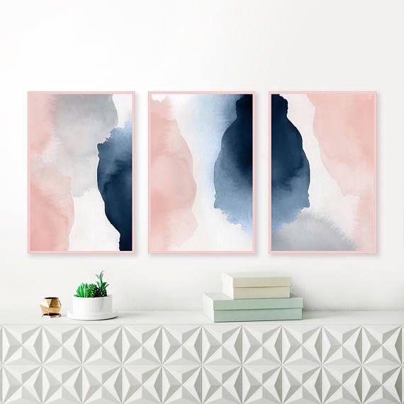 Set Of 3 Prints, Pink Navy Wall Art, Oversized Wall Art