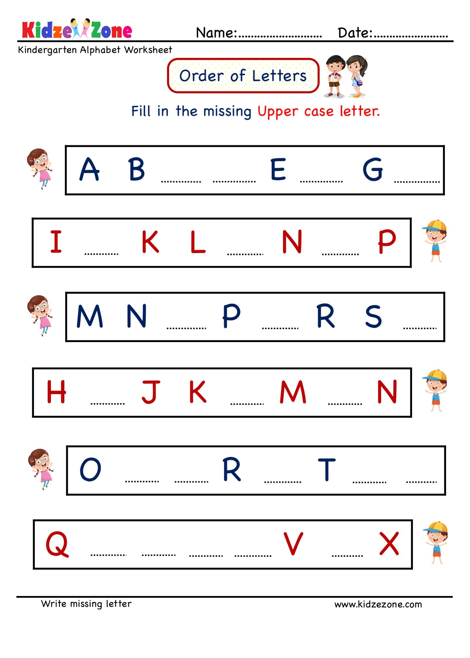 Kindergarten Letter Writing Worksheets