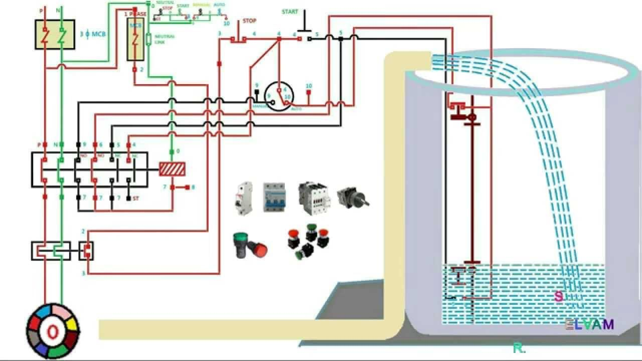 automatic water level controler single phase motor starter best of submersible pump wiring diagram [ 1280 x 720 Pixel ]
