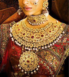 Indian wedding jewelry red gold jewelry fashion Asia Asian