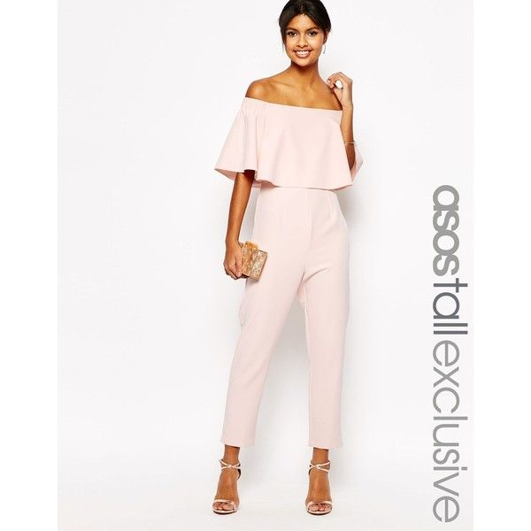 e0a5ac56bd8 ASOS TALL Jumpsuit With Ruffle Bardot ( 77) ❤ liked on Polyvore featuring  jumpsuits