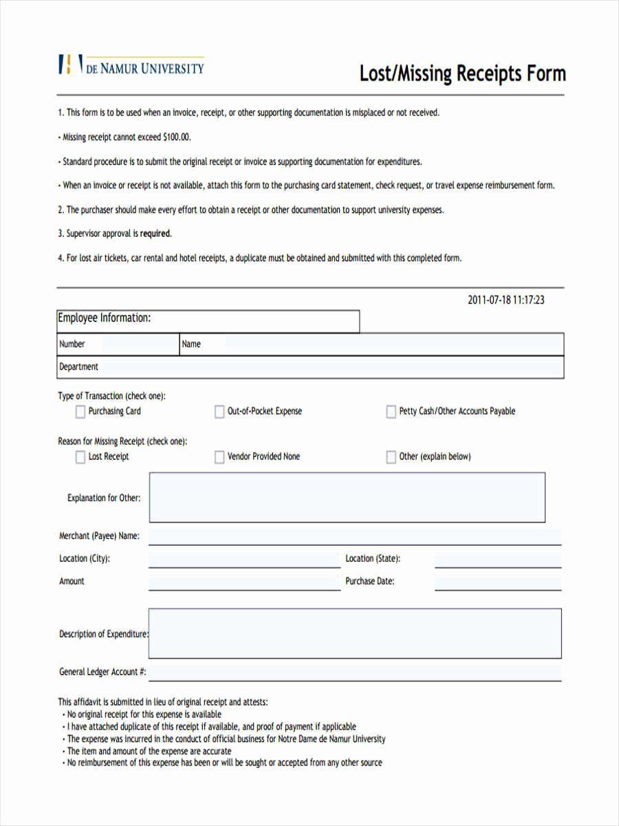 Lost Receipt Form Template Fresh 5 Standard Receipt Form Samples Free Sample Example Templates Contract Template Job Posting