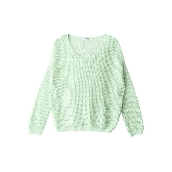 [bc086] ❤ liked on Polyvore featuring tops, sweaters, jumper, green jumper, green sweater and green top