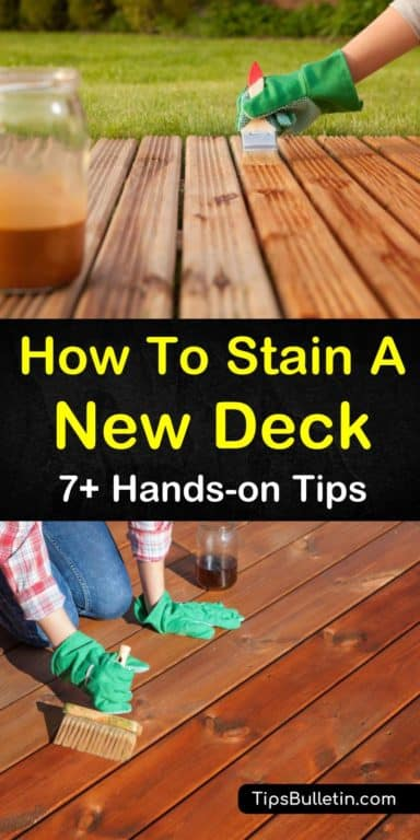 7 Hands On Ways To Stain A New Deck With Images Staining Deck Diy Deck Staining New Deck