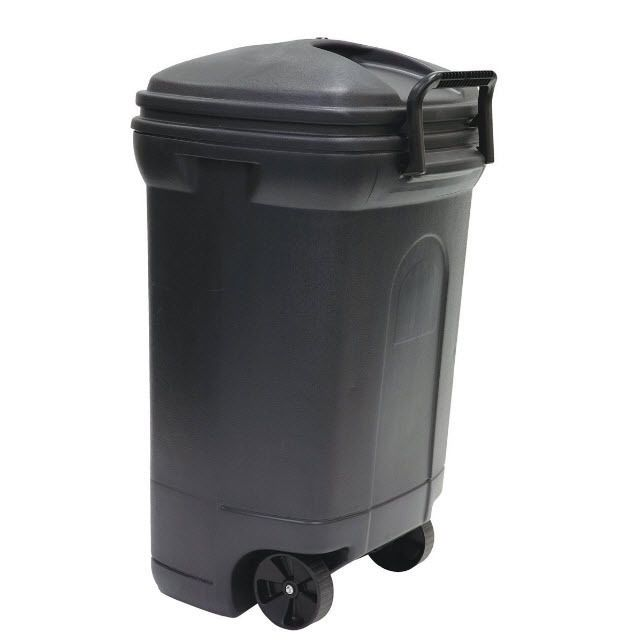 34 Gallon Trash Can Hideaway Patio Waste Bin Lock In Place Hook Black Wheels Outdoor Trash Cans Waste Container Recycling Bins
