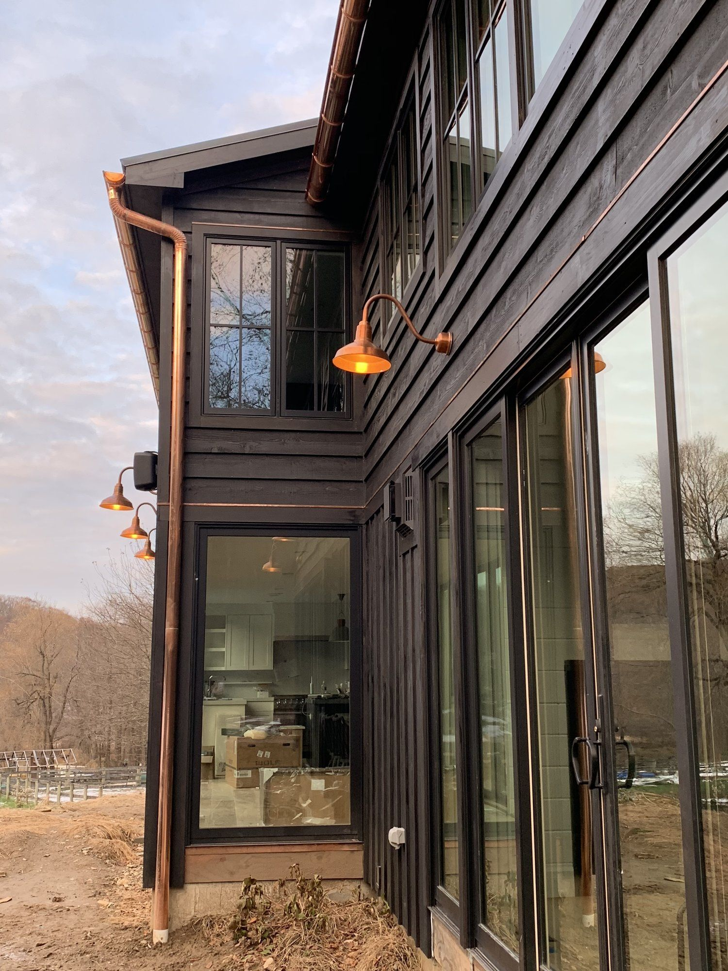 Ny Farmhouse Preview Black House Exterior Copper House Copper Gutters