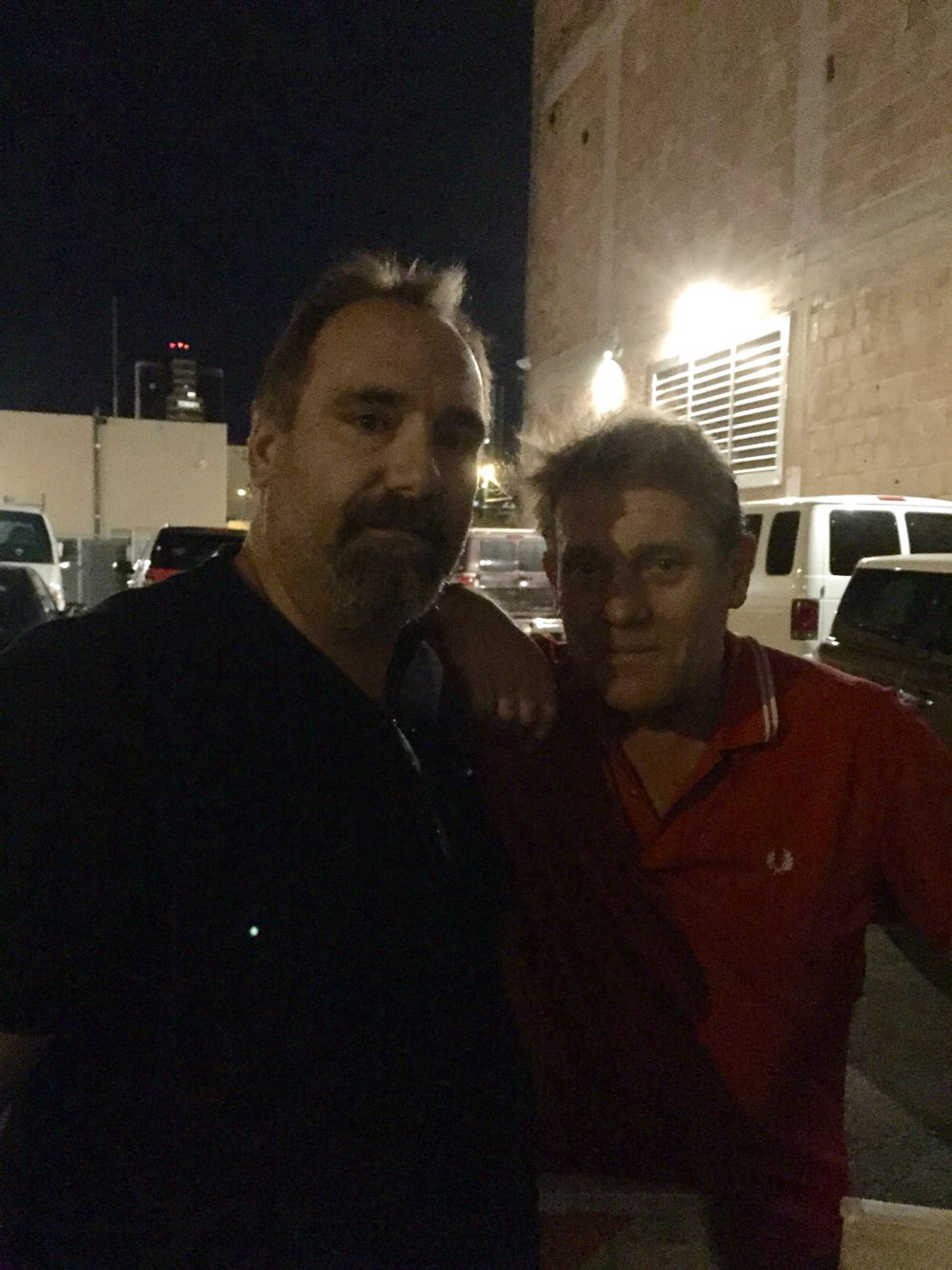 My Hubby and Dave Wakeling  At The English Beat Concert.  Rialto Theatre, Az. Jan, 2015