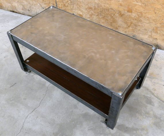 galvenized steel and bamboo coffee table with castersmodern