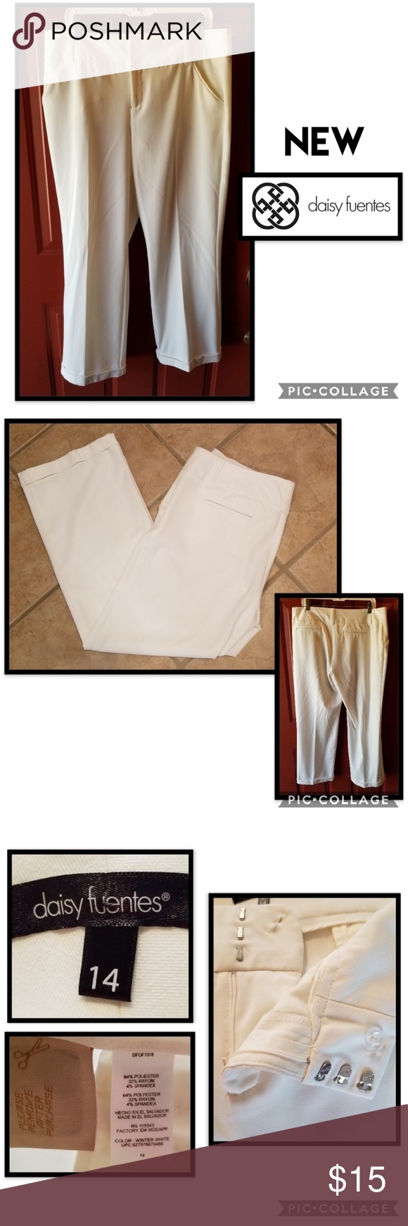 Stunning White Slacks Pants These are simply georgous,  pictures don't do them justice, you will be in complete comfort wearing these flowing, cuffed, and pocketed slacks! Add a blouse or shoes for extra discounts! Daisy Fuentes Pants Trousers #whiteslacks Stunning White Slacks Pants These are simply georgous,  pictures don't do them justice, you will be in complete comfort wearing these flowing, cuffed, and pocketed slacks! Add a blouse or shoes for extra discounts! Daisy Fuentes Pants Trousers #whiteslacks