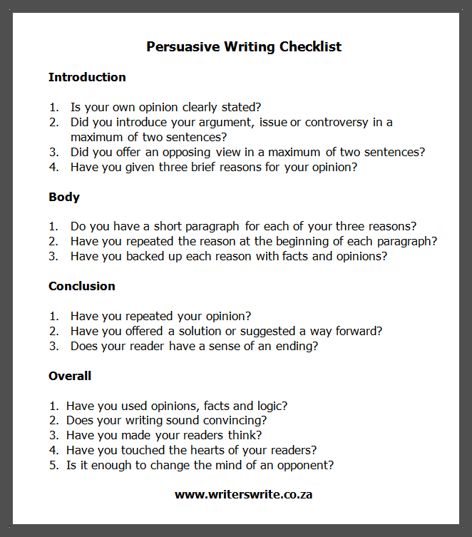 Persuasive Writing Checklist  Writing Checklist Persuasive