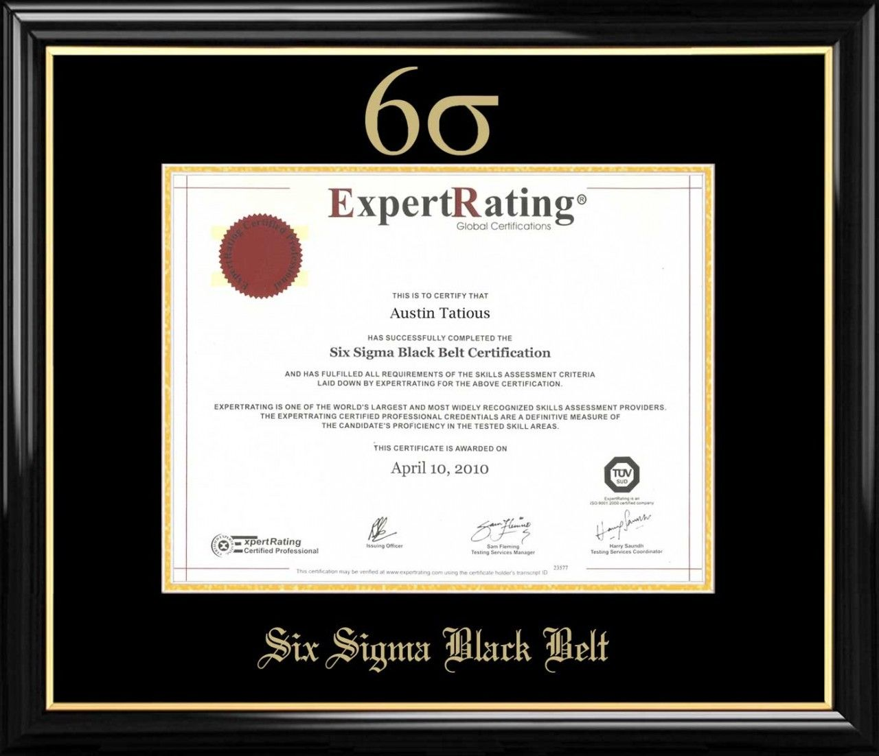 Six Sigma Black Belt Certificate Frame Black with Black Mat ...