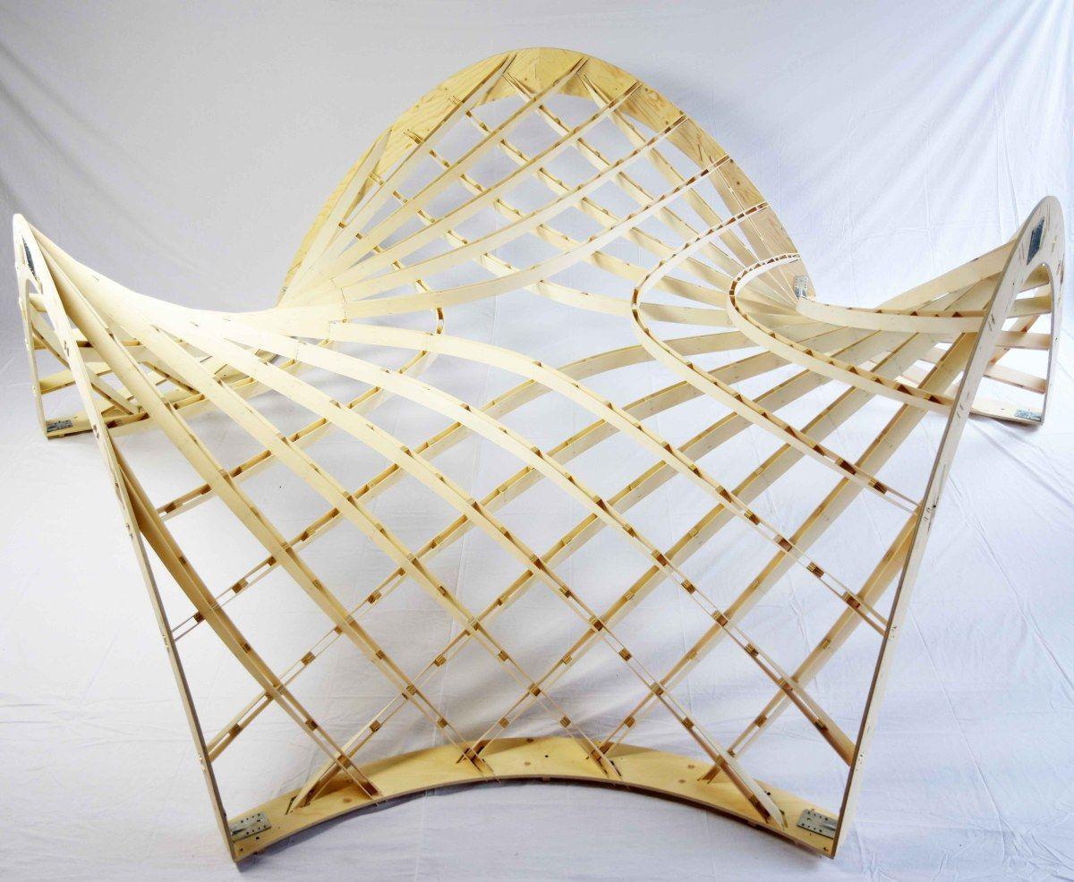 Asymptotic gridshell timber prototype fabrication for Stuhl design kunstunterricht