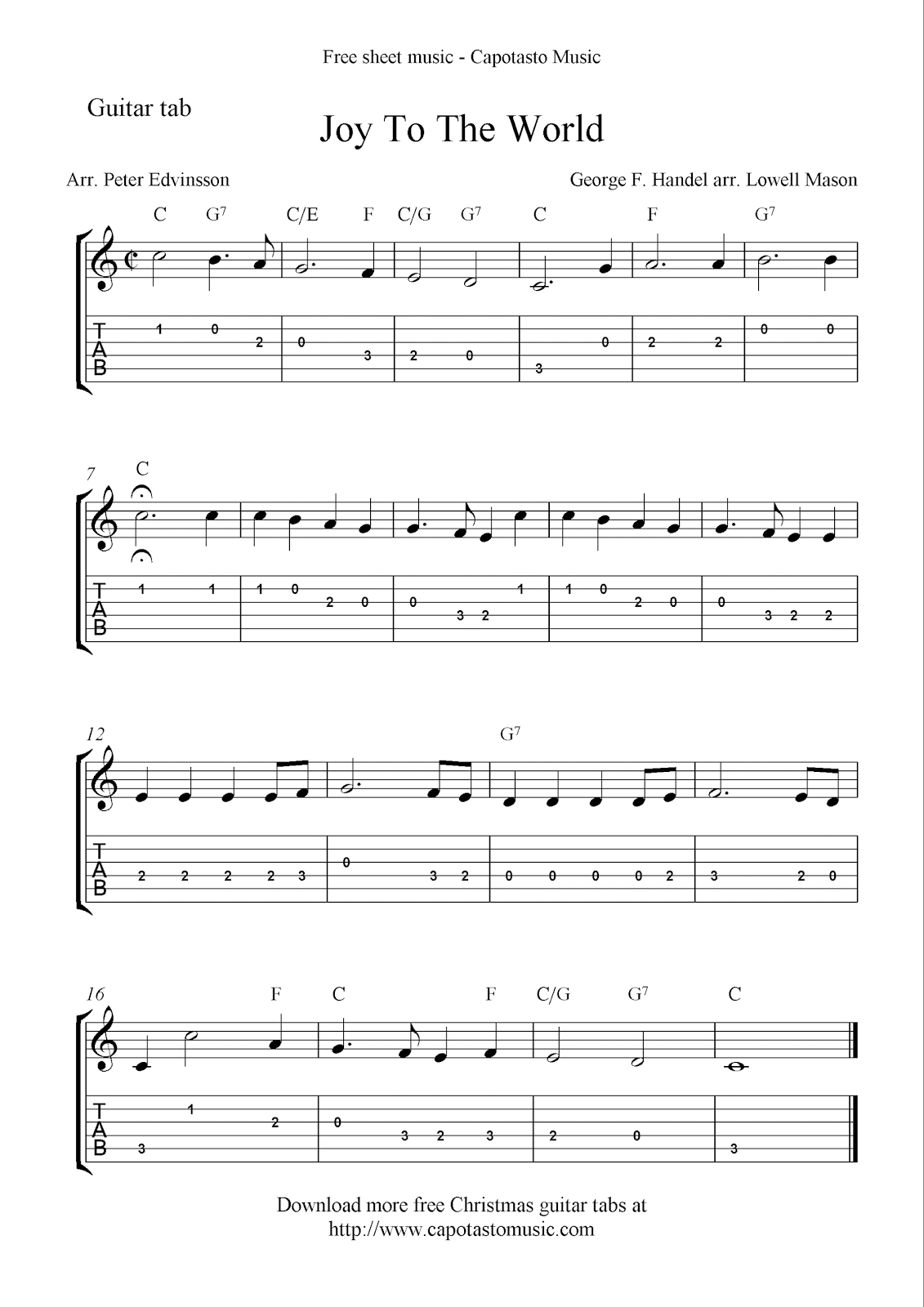 Free Printable Sheet Music Joy To The World Free Christmas Guitar Sheet Music And Tablature