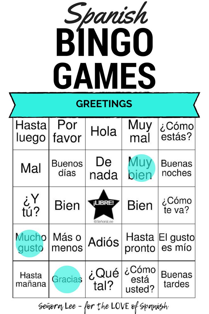 Spanish Greetings Bingo And Vocabulary List Los Saludos Spanish