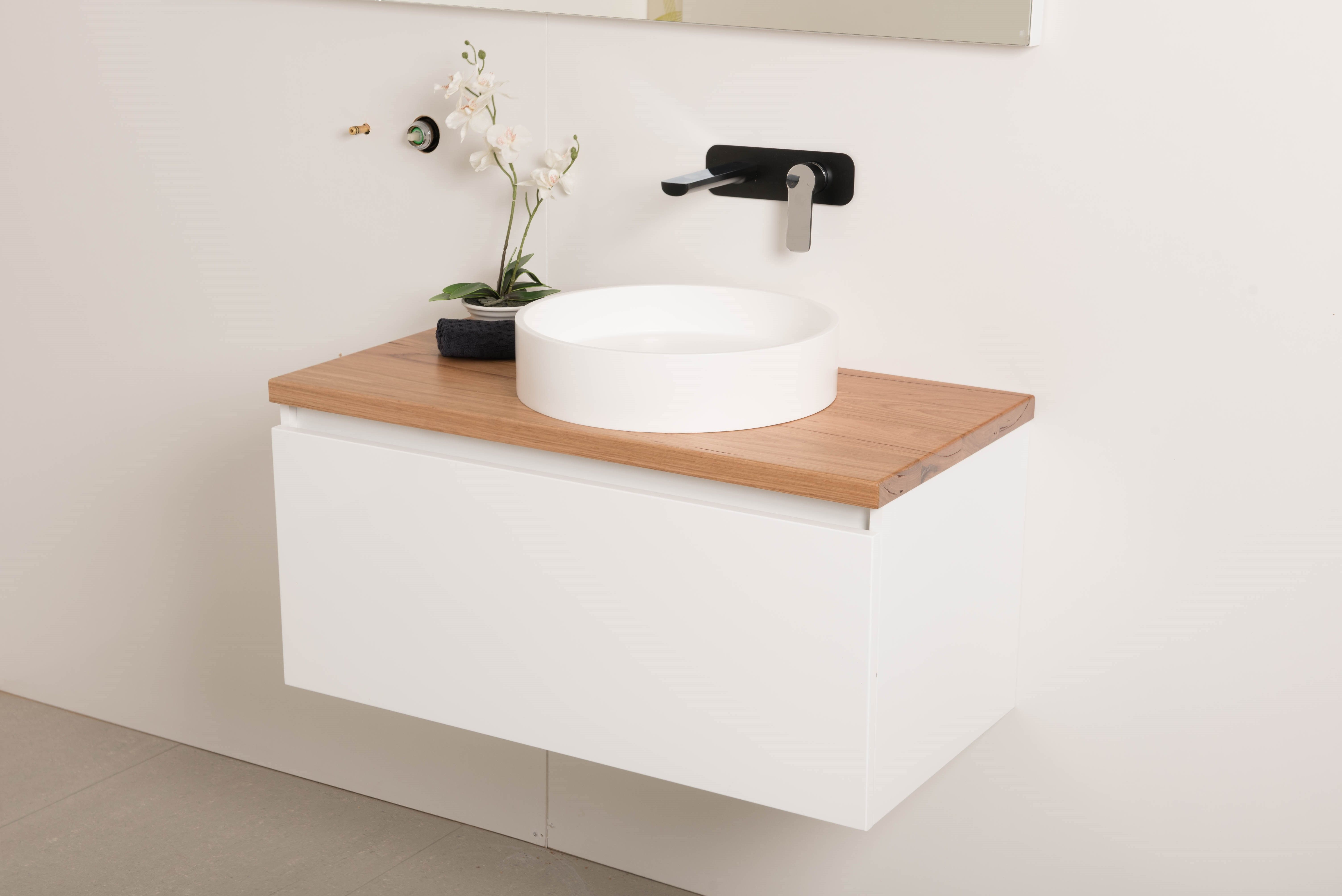 pleasing wall hung vanities for small bathrooms. Reuben 900 Wall Hung Vanity with Timber Top and Aurora Basin