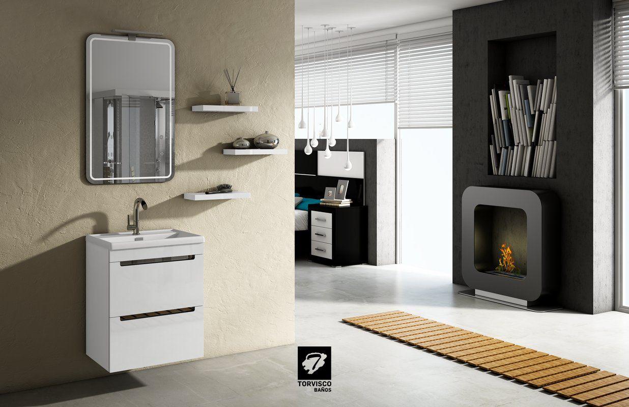 Modelo Loa 50cm Blanco Brillo Y Estantes De 35cms Espejo Mares Y  # Muebles El Foco