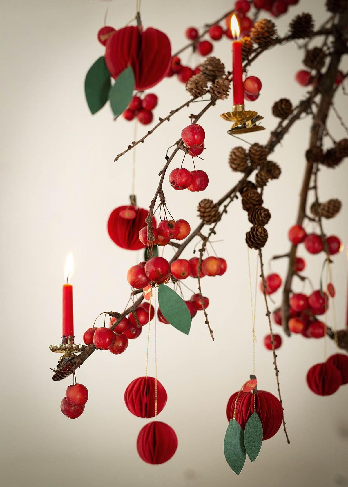 rot-grüne weihnachtsdeko mit äpfeln und nüssen - Wunderschön gemacht