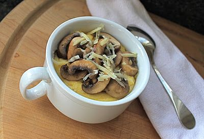 grits with mushrooms. i love grits. it's nice to think of something savory. easy, easy to veganize.