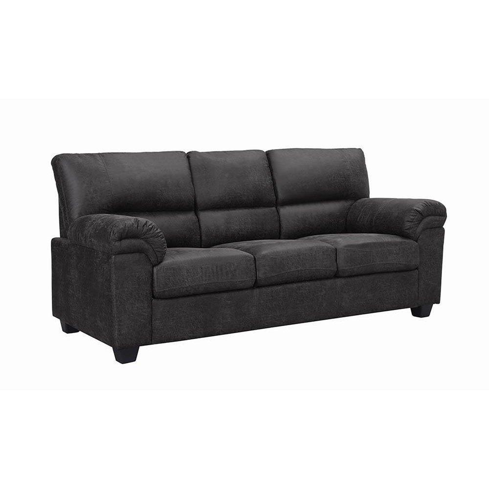 Linden Transitional Charcoal Sofa Black Microfiber Sofa