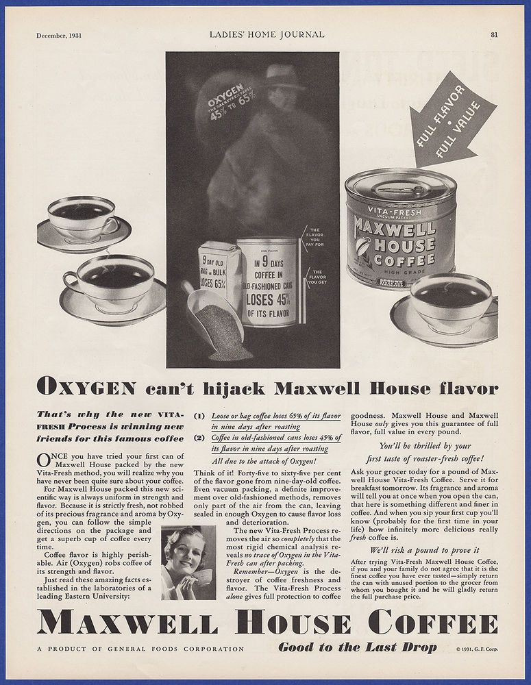 photograph regarding Maxwell House Coffee Coupons Printable named Basic 1931 MAXWELL Space Espresso Vita-Contemporary All round Foodstuff
