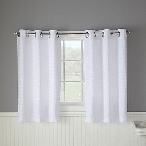 Hookless Waffle White Bathroom Window Curtain Pair For The