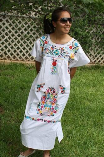 2813638eda9 White Boho Vintage Style Hand Embroidered Tunic Mexican Dress Hippie Puebla