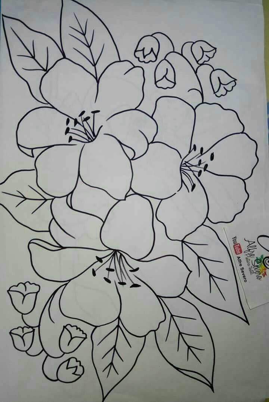 Patrones De Flores Pintura Modelo Pintura En Tela Flores Disenos De Arte Bordados A Mano