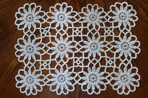 Crochet Placemat 19 x 14 / Table cloth / New by FestiveCrafting ...