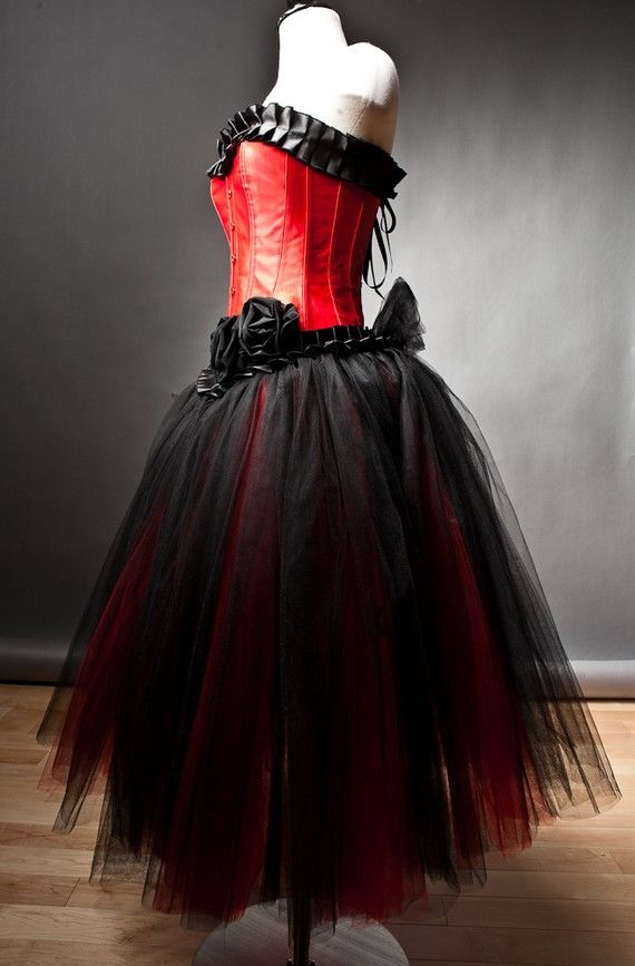 Custom Size Red and Black burlesque corset prom by Glamtastik