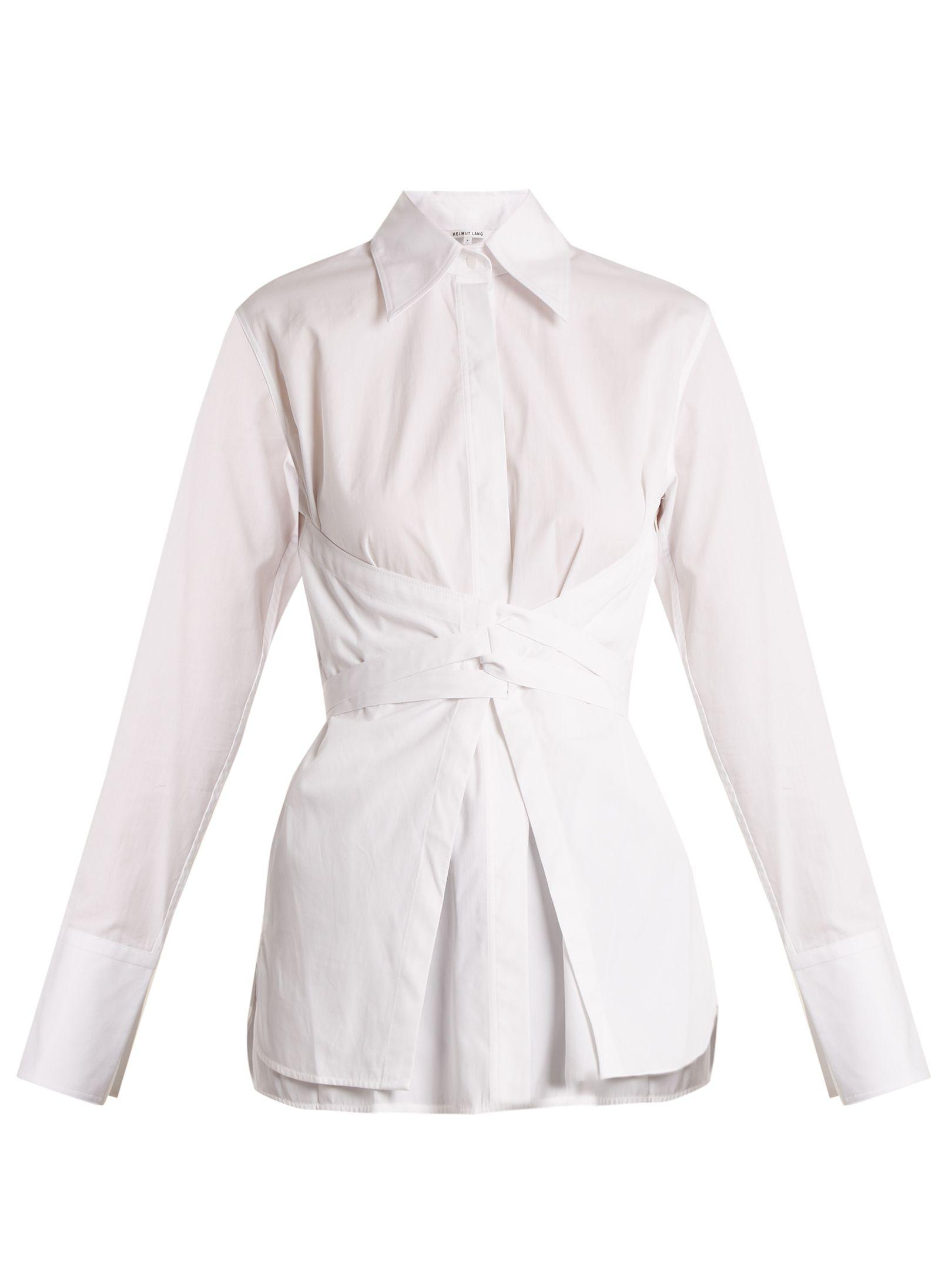 Helmut Lang Corset waist Cotton poplin Shirt In White