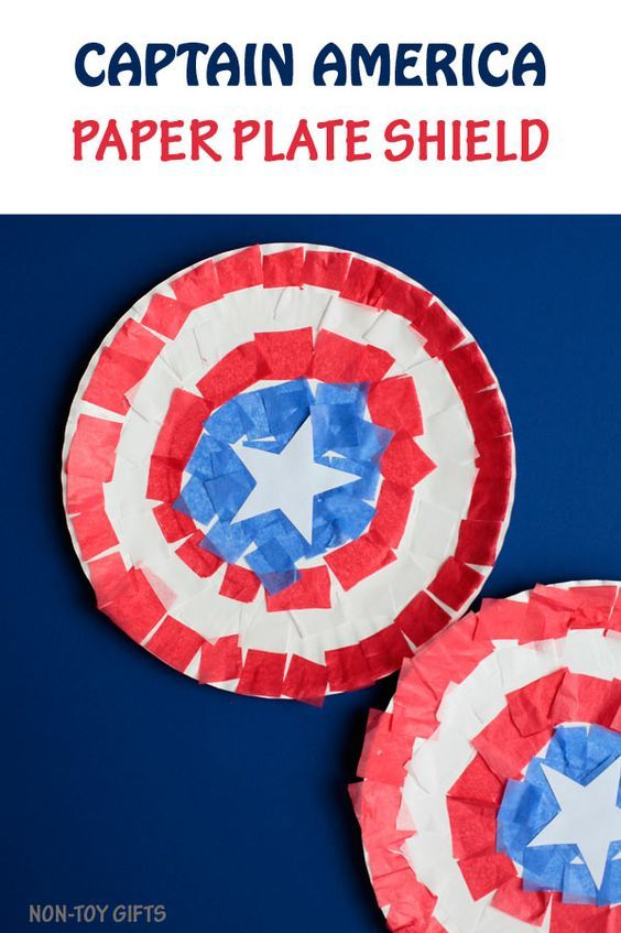 Captain America paper plate craft for kids. Use tissue paper to create the superhero's shield. | at Non-Toy Gifts