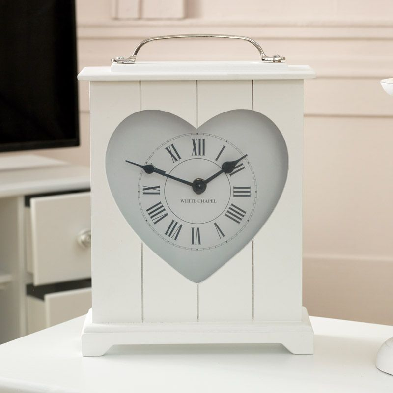 White Heart Wooden Mantel Clock Wooden Mantel White Mantel Clocks Clock