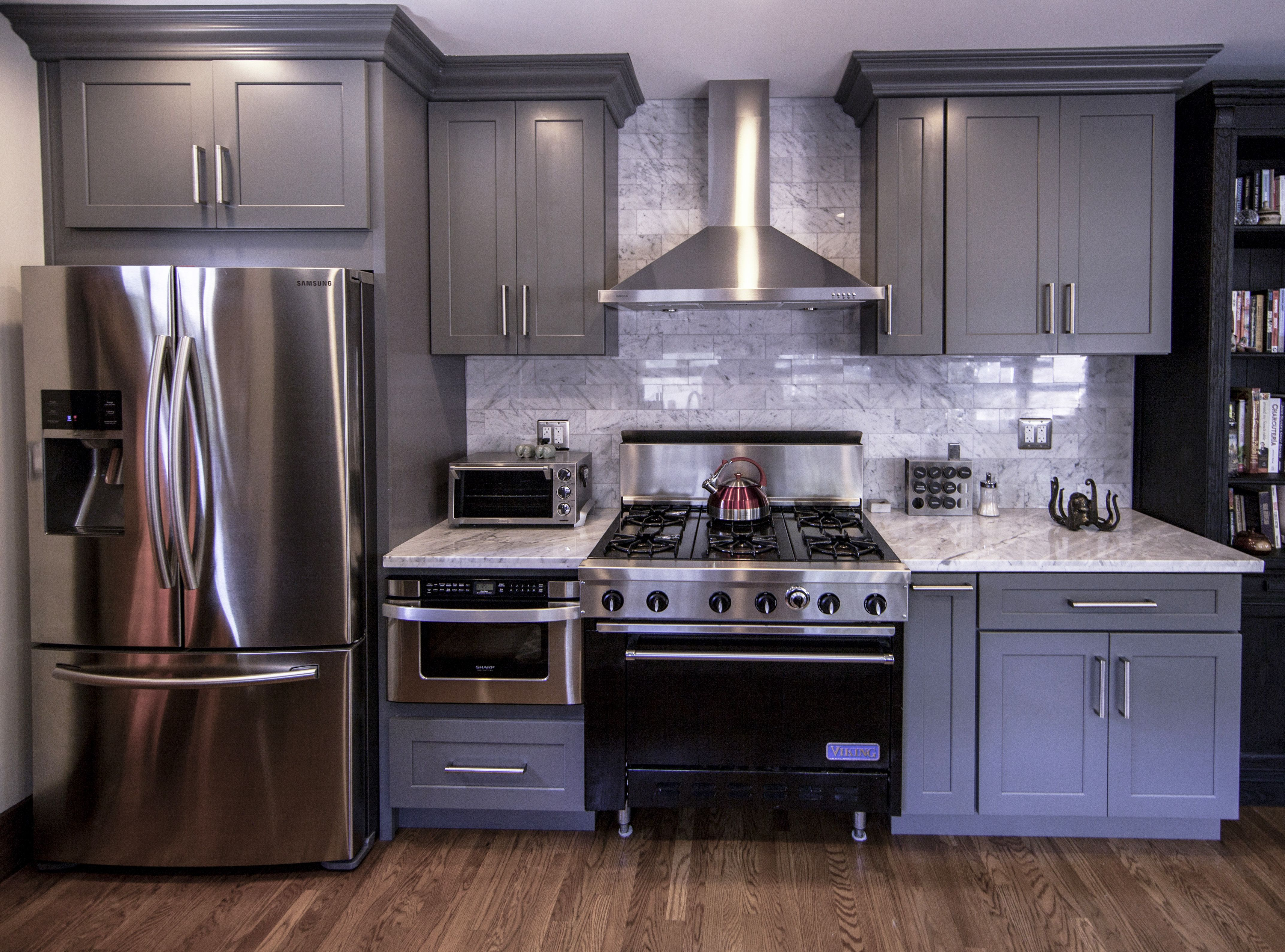 Kitchen Renovation With Stainless Steel Appliances Gray Marble